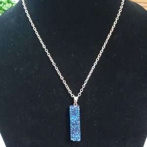 Blue aura flame crystal necklace